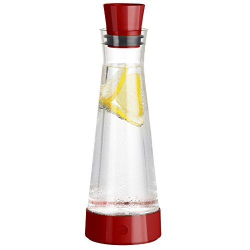 Emsa 515476 Glaskaraffe mit Kühlelement, 1 Liter, Automatische Verschlussklappe, Rot, Flow Slim Friends