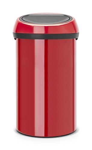 Brabantia 402487 Poubelle Touch Bin, 60 L - Rouge passion