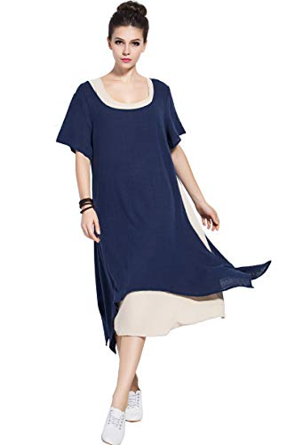 Anysize Fake Two Piece Soft Linen Cotton Spring Summer Dress Plus Size Dress Y75 Navy