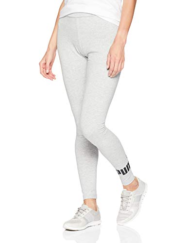 PUMA Damen Essential Logo Leggings, Grau-Light Gray Heather, Mittel