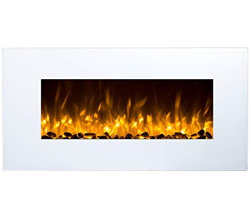GLOW FIRE Neptun Elektrokamin mit Heizung, Wandkamin mit LED | Künstliches Feuer mit zuschaltbarem Heizlüfter: 750/1500 W | Fernbedienung, 84 cm, Weiß, Kieselsteindekoration