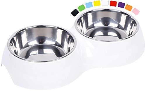 DDOXX Doppel-Fressnapf, rutschfest | viele Farben & Größen | für kleine & große Hunde | Futter-Napf Katze doppelt | Hunde-Napf Hund | Katzen-Napf Edelstahl-Napf | Melamin-Napf | Weiß, 2 x 160 ml