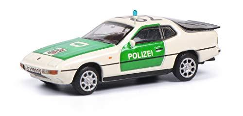 Schuco 452650000 Porsche 924, Polizei Version, Modellfahrzeug, Maßstab 1:87, weiß/grün