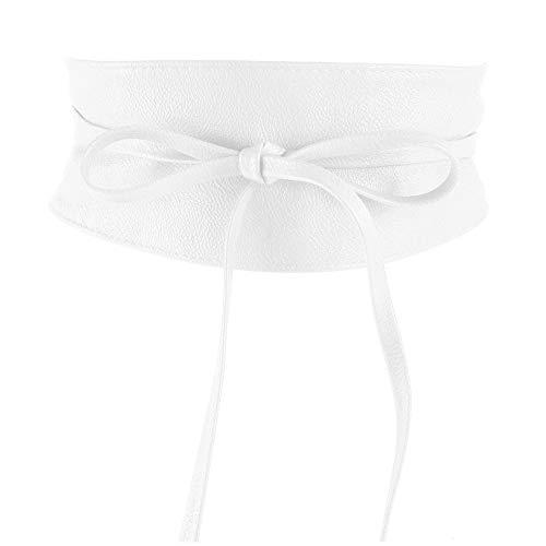 MYB Cintura fusciacca per donna in similpelle - modello obi - taglia unica - diversi colori disponibili (Bianco)
