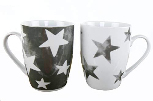 Porzellan Kaffeetasse 250 ml im Stern Design - 2er Set - Kaffee Becher Tasse Kaffeepot