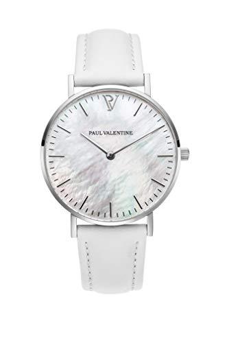 PAUL VALENTINE ® Damenuhr Silver Seashell White analog mit echtem Perlmutt Ziffernblatt, silbernen Initialien und weißem Lederarmband 36 mm Gehäusedurchmesser