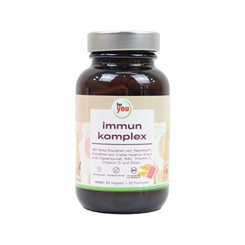 for you immun komplex | 90 Kapseln (= 30 Portionen) Ausgewählte Kombination von Pflanzenextrakten & Vitaminen zur gezielten Unterstützung des Immunsystems | Hochdosiertes Beta-Glucan, Vitamin C & D