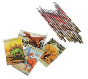 2 Dozen (24) Piece Awesome DINOSAUR Notebooks and Pencils! Great for Birthday Party Favors, Goodie Bags, Classrooms, Prizes and More!