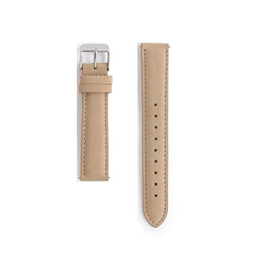 Correa de Reloj de Cuero marrón Beige | Piel Genuina | 18mm | función Intercambiable con Pasador Incorporado | Tacto Terciopelo