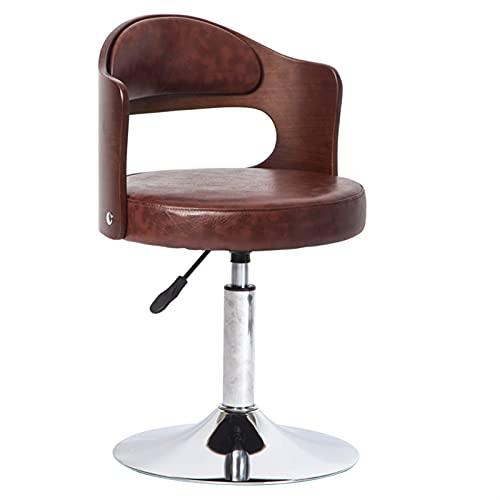 NICEDINING Enkel datorstol massivt trä baksida barstol reception kassör låg benpall lyft svängbar stol (färg: Ljusgrå)