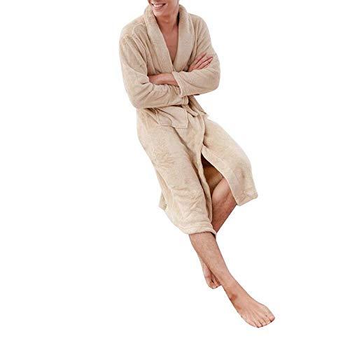 Vestido Suave Hombres Mujeres s Cálido Bata de baño súper Larga para Hombre Kimono Albornoz Bata fit-Color_3_Asian_Size_XL_