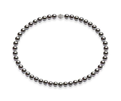 Schmuckwilli Südsee Tahiti Damen Muschelkernperlen Perlenkette Grau Magnetverschluß echte Muschel 45cm dmk0015-45 (8mm)