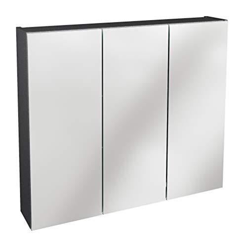 Lanzet Spiegelschrank L0 / Badezimmerschrank mit Spiegel/Maße (B x H x T): ca. 80 x 68 x 14,5 cm/Möbel fürs Bad oder WC/hochwertiger Schrank mit 3 Türen/Korpus: Schwarz Glanz/Front: Spiegel