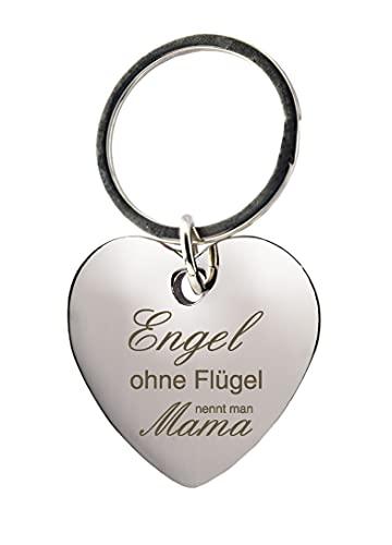 geschenke-fabrik.de Schlüsselanhänger - Herz mit Gravur »Engel ohne Flügel, nennt man Mama« - Geschenk für Mamas zum Muttertag oder zu Weihnachten