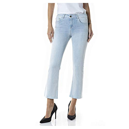 REPLAY Faaby Flare Crop Jeans, 011 Super Light Blue, 31 para Mujer