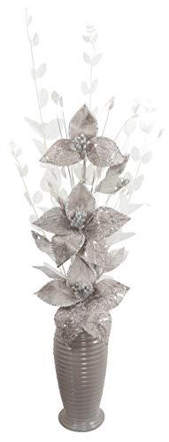 Grau Künstliche Blumen Mit Silber Vase, Deko, Wohnaccessoires & Deko Geeignet für Bad, Schlafzimmer Oder Küche, 80cm groß