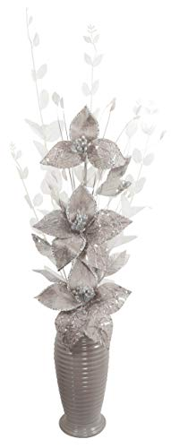 Silver and Grey Artificial Flowers in Vase, Room Décor, Tall - 80cm
