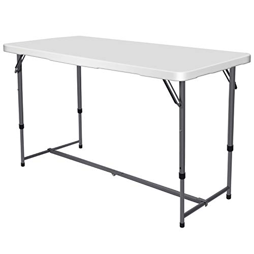 Nestling Folding Table 4FT 1.2M Camping Catering Heavy Duty Folding Trestle Table For BBQ Picnic Party with Carrying Handle