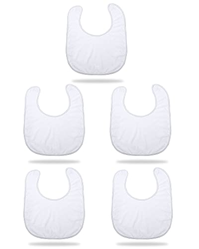 Baberos de Bebé Babero de Sublimación Blanco de Unisex-bebé Neonatal Baboso Paquete de Pañuelo Tela Reutilizable Lavable Imprimible de Prensa de Calor para Diseños Creativos DIY (5 Piezas)