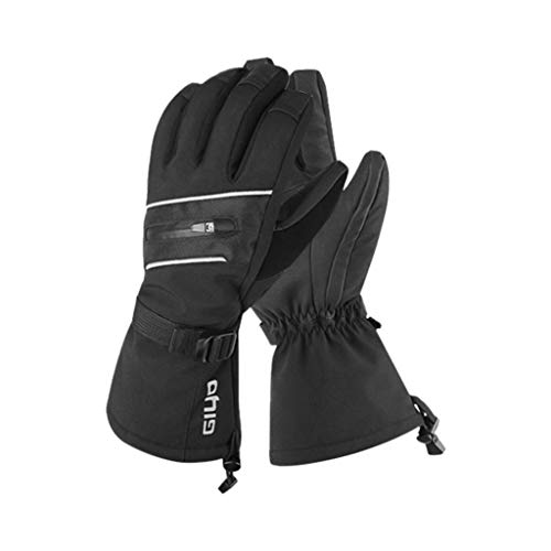 Fine Waterproof Mens Ski Gloves Breathable Windproof Warm Skiing Snowboard Gloves Winter Cold Weather Cycling Riding Glove (Black, XL)