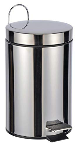 Bambelaa! Cubo de basura con pedal, aprox. 3 l, para sanitarios, de acero inoxidable, pequeño, color plateado