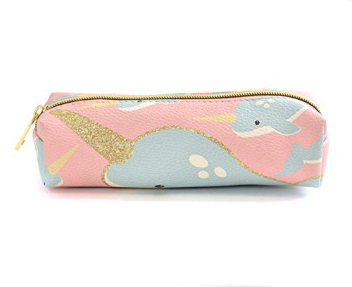 Charming Charlie Kid's Narwhal Pencil Case Pouch - Glitter Horn Print, Gold-Tone Zipper - Blue Medium