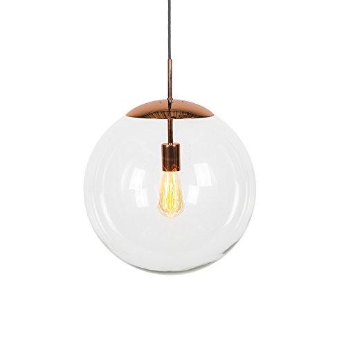 QAZQA Moderne Suspension/Lustre/Luminaire/Lumiere/Éclairage scandinave cuivre avec verre clair - Ball 40 /Acier Transparent,Cuivre Globe E27 Max. 1 x 60 Watt/intérieur/Salon/Cuisine