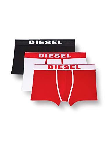 Diesel UMBX-DAMIENTHREEPACK, Slip Uomo, Multicolore (Bright White/Chinese Red/Black E4119-0Jkkc), L, Pacco da 3