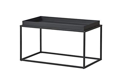 Inter Link Mesa de Centro (Metal, para Interiores y Exteriores), Color Negro, 80 x 45 x 45 cm 🔥