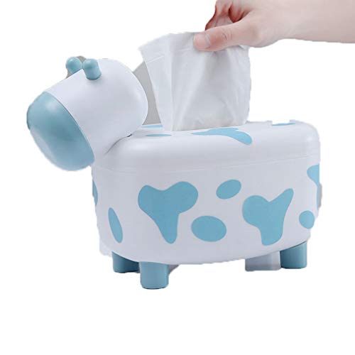 Dream Roca Tissue and Toothpick Holder Cute Cow Animal Shape Pumping Paper Dispenser with Magnet Toothpick Box Dual-use for Office Home Table Ornament (Blue)
