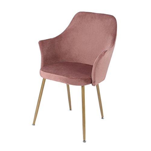 DORAFAIR Sedoso Terciopelo Sillón de Relajación,Sillas de Comedor con Soft Velvet Cushion Asiento con Patas de Metal Dorado,Rosa Roja