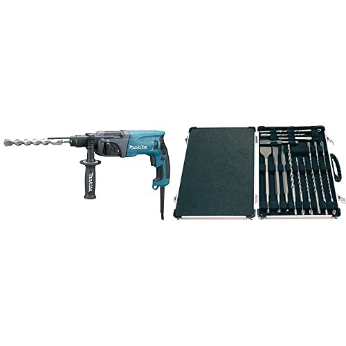 Makita Hr2230 Martillo Ligero, 710 W, 230 V, Azul/Gris, 710W + Sds Plus - Kit De Brocas Y Cinceles (17 Piezas)