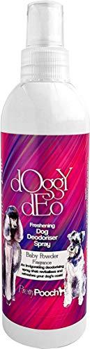 Pretty Pooch, desodorierendes Hunde-Spray, 250 ml, Babypuder, erfrischendes Trocken-Shampoo, für Hunde, hergestellt in Großbritannien