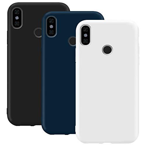 Coque en Silicone pour Xiaomi Mi A2 / Mi 6X, Misstars Ultra Mince Souple TPU Gel Mat Bumper Doux Léger Anti Rayure Antichoc Housse Étui de Protection pour Xiaomi Mi A2 / Mi 6X, Noir+Bleu Foncé+Blanc
