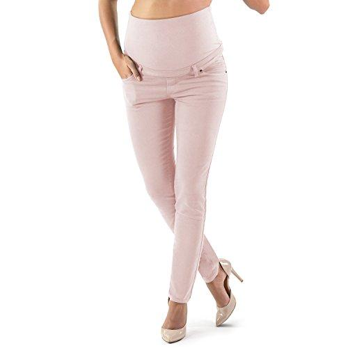 Pantalón Premamá Corte Slim Impecable, Material Elástico y Suave, Muchos Colores - Made in Italy (36, Polvo)