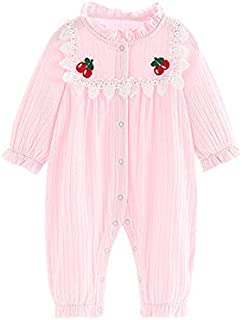 Xifamniy Infant Girls Long Sleeve Romper Cotton Lace Collar Cherry Print Baby Jumpsuit