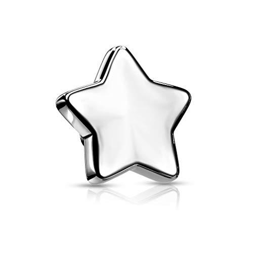 Paula & Fritz® Topp-stjärna ankare stjärna titan grad 23 olika storlekar och tjocklekar hud ankare hud diver implantat bodypiercing e titan, colore: silver, cod. QBTY11P-144