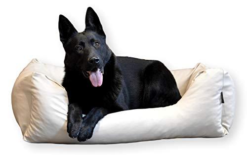 E-dogbed Mario Exklusives Hundebett aus Kunstleder Hundekorb Tierkissen Hundesofa Hundeliege Hundekissen Hundekörbchen Schlafplatz Farbe und Größe wählbar von M bis XXL (100x70 cm, Beige)