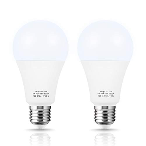 Briignite LED Light Bulb 3-Way 50W-100W-150W, A21 Light Bulb E26 Medium Base Daylight White 5000K, Adjustable Brightness 600LM-1250LM-1850LM, Perfect for Table lamp, Floor lamp, Desk lamp, 2 Pack