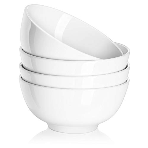 DOWAN 22 Ounces Porcelain Soup Bowls, Cereal Bowls, Lightweight Bowl Sets 4, Chip Resistant, Dishwasher & Microwave Safe, Nut Bowls, White Bowls, for Rice Pasta Salad Oatmeal