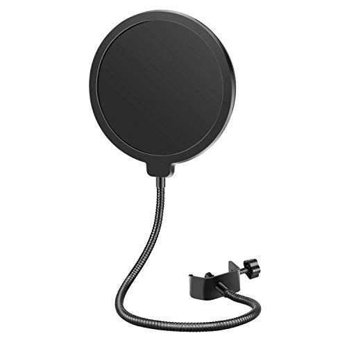 Neewer Professional Microphone Pop Filter Shield Compatible with Blue Yeti and Any Other Microphone, Dual Layered Wind Pop Screen With A Flexible...