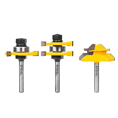 MNA Tongue and Groove Bits & 45 Degree Lock Miter Router Bit, 1/4 Inch Shank Wood Milling Cutter Bits