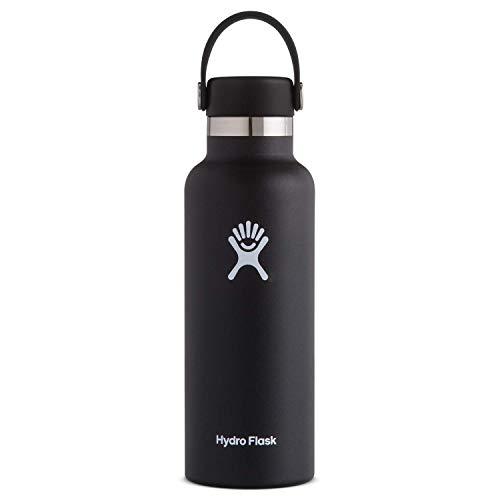Hydro Flask Trinkflasche, Edelstahl und vakuumisoliert, Standard-Öffnung mit auslaufsicherem Flex Cap, schwarz, 532ml (18oz)