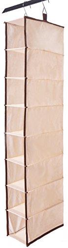 Shinetidy - Scarpiera da appendere per armadio, 8 ripiani, in tessuto, colore: Beige