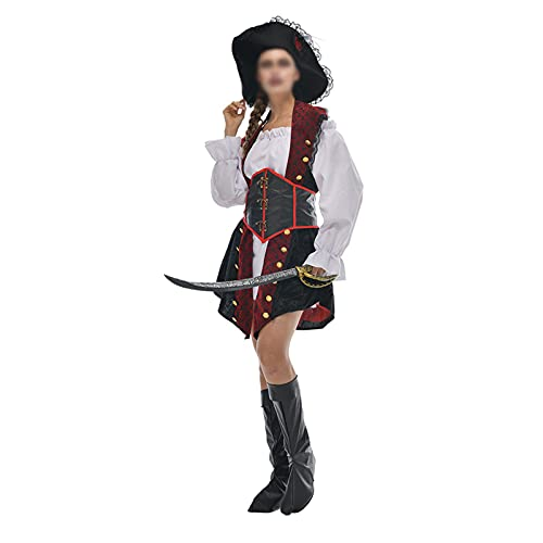 THAT NIGHT Disfraz de pirata para mujer, sexy, bucanero, para mujer, disfraz de pirata, elegante, para Halloween, para mujer, Bronce, Large