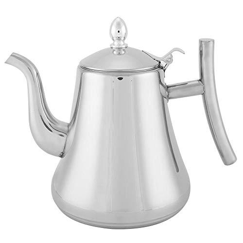 Edelstahl-Teekanne, Neuheit polierte Edelstahl-Teekanne mit Deckel, funktionaler Kaffee-Teekessel für zu Hause, Teekanne mit Teefilter