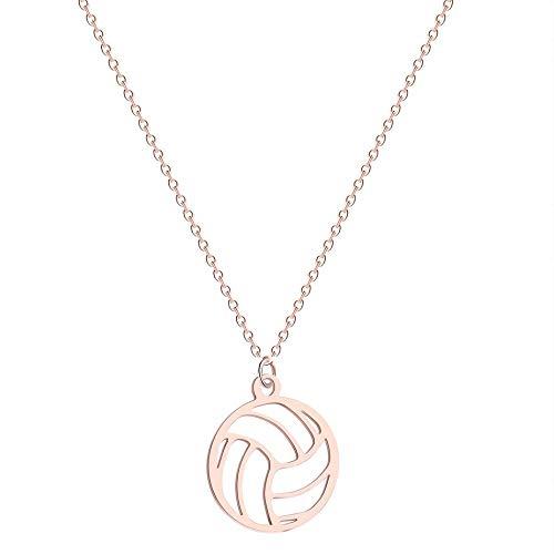 Hwenli Halsketten-Anhänger, Runde Volleyball-Anhänger Halskette Edelstahl Volleyball-Anhänger Claviclekette Für Unisex Schmuck Sport Charm Volley Sport-Fan-Geschenke,Rosegold