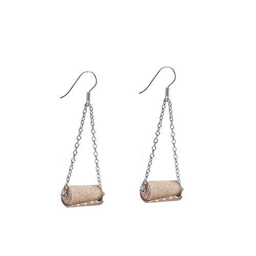 JJDSL Ohrringe Für Mädchen,Frauen Lustige 3D Gewebe Geometrische Tropfen Ohrringe Kreative Papier Handtuch Toilette Papier Ohrringe Rolle Papier Baumeln Tropfen Ohrringe Für Party Hochzeit, Braun