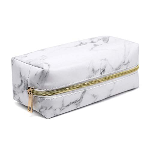 Pencil Makeup Bag,Lightweight Portable Cosmetic Bags Pouch for Women Make Up Brushes PU Leather Travel Storage for Ladies Toiletry Organiser Outdoor for Girl (White)