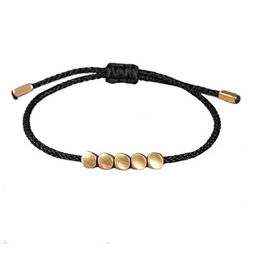Handmade String Bracelet | Red Black Rope Strand Thread Thin Cord Wristband | Adjustable Friendship Band | 5 Gold Bead | Luck Love Meditation Protection Spiritual Religious | Him Her Men Woman (Black)